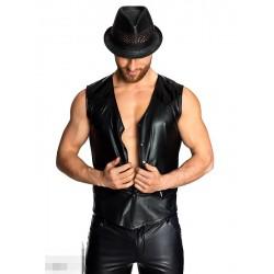 Chemise sans manches en vinyle wet look pour homme