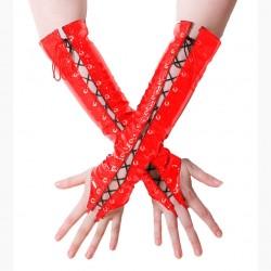 Gants à lacet en vinyle rouge acesoire wet look