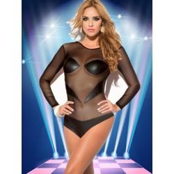 Body en vinyle et résille noir - lingerie wet look